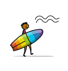 boy with surfboard sketch for your design vector image vector image