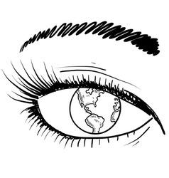 doodle eye iris earth vector image