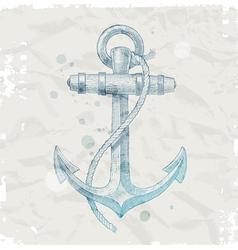 Hand drawn anchor on grunge paper background vector image vector image