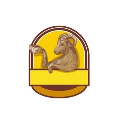 Ram Goat Drinking Coffee Crest Drawing vector image