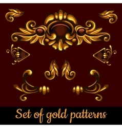 Set of golden volume patterns vector image