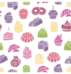 Cakes and sweets seamless pattern background vector image vector image