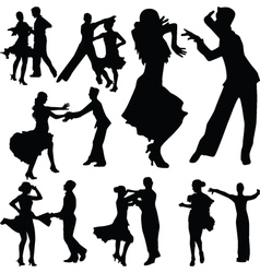 dance people silhouette vector image