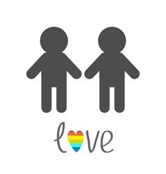 Gay marriage Pride symbol Two man silhouette LGBT vector image vector image
