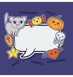 Halloween kawaii greeting card with cute sticker vector image vector image