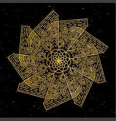 mandala gold round ornament pattern on black vector image vector image