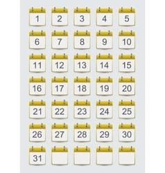 Modern calendar icons set on gray vector