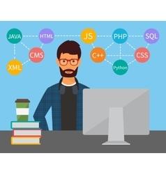 Programming and coding Flat vector image