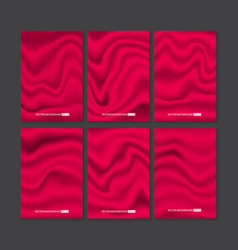 set of red silk texture vector image