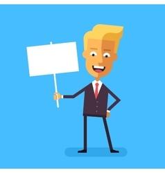 Handsome blond businessman holding banner vector image