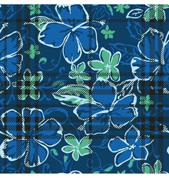 Hibiscus flowers seamless pattern vector image vector image
