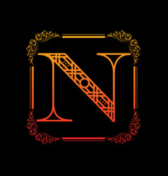 Letter n with ornament vector