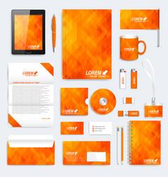 orange set of corporate identity template vector image