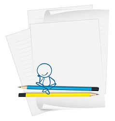 A paper with a drawing of a boy sitting vector image