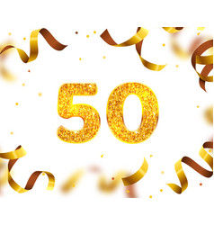 anniversary banner 50th gold ribbon fly vector image
