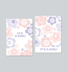 Baby style floral card template in pastel color vector