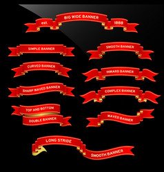 banner ribbon scroll a set red unique banner vector image