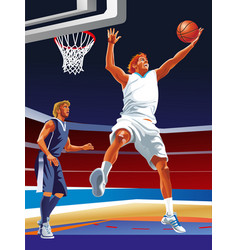 basketball game sport player in action vector image