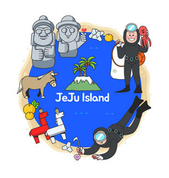 Beautiful attraction of jeju island in south korea vector