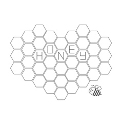Bee insect animal honeycomb set in shape of heart vector