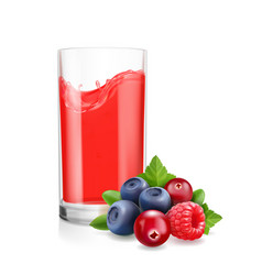 berries mix juice and drinking glass vector image