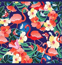 Bright seamless pattern tropics flamingos vector