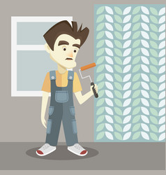 Builder on a light background vector