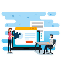 Businesswoman and businessmen with website vector
