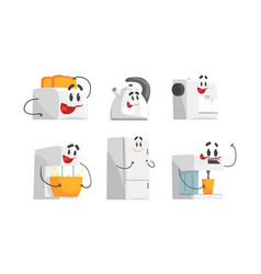 cartoon smiling household appliances doing vector image