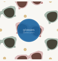 cat eye retro glasses seamless pattern vector image