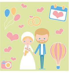 Celebration of love wedding romantic couple vector