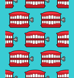 Chatter teeth toy pattern seamless april fools vector