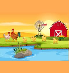 Chicken family at farm vector