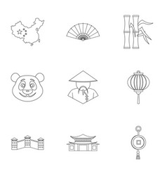 China republic icon set outline style vector