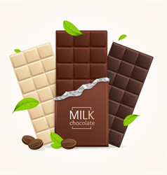 Chocolate package bar blank - milk white vector