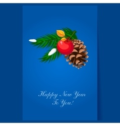 Christmas tree decoration pinecone greeting card vector image