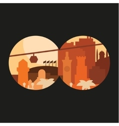 City through binoculars building palm flags in vector
