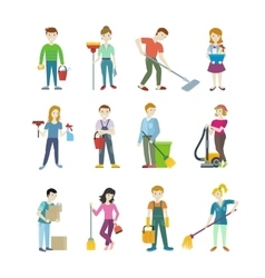 Cleaning Staff Man and Woman Character vector image