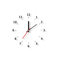 clock flat analog watch with shadow vector image