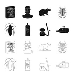 cockroach and equipment for disinfection black vector image