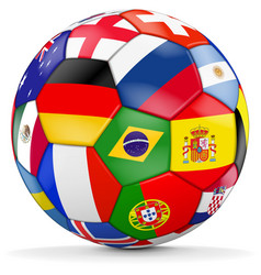Colorful soccer with different countries vector