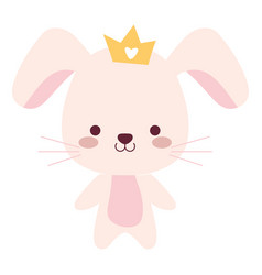 Cute and little rabbit with crown character vector