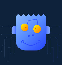 cute cartoon a robot head a creative cute vector image