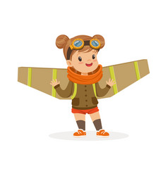 Cute little girl in pilot costume playing with vector