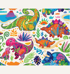 cute seamless pattern with mom and badinosaurs vector image