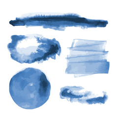 Deep blue watercolor shapes stains circles vector