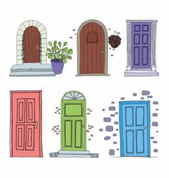 Doors set of decorative vector