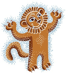 drawing of happy orange lion holding its paws up vector image