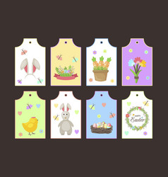 Easter gift tags labels with cute cartoon vector