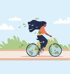 eco-friendly transport happy woman ride bicycle vector image